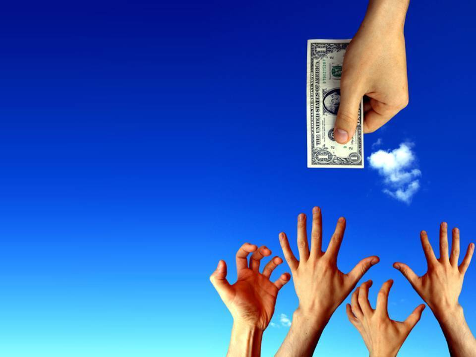 hands reaching into air for money