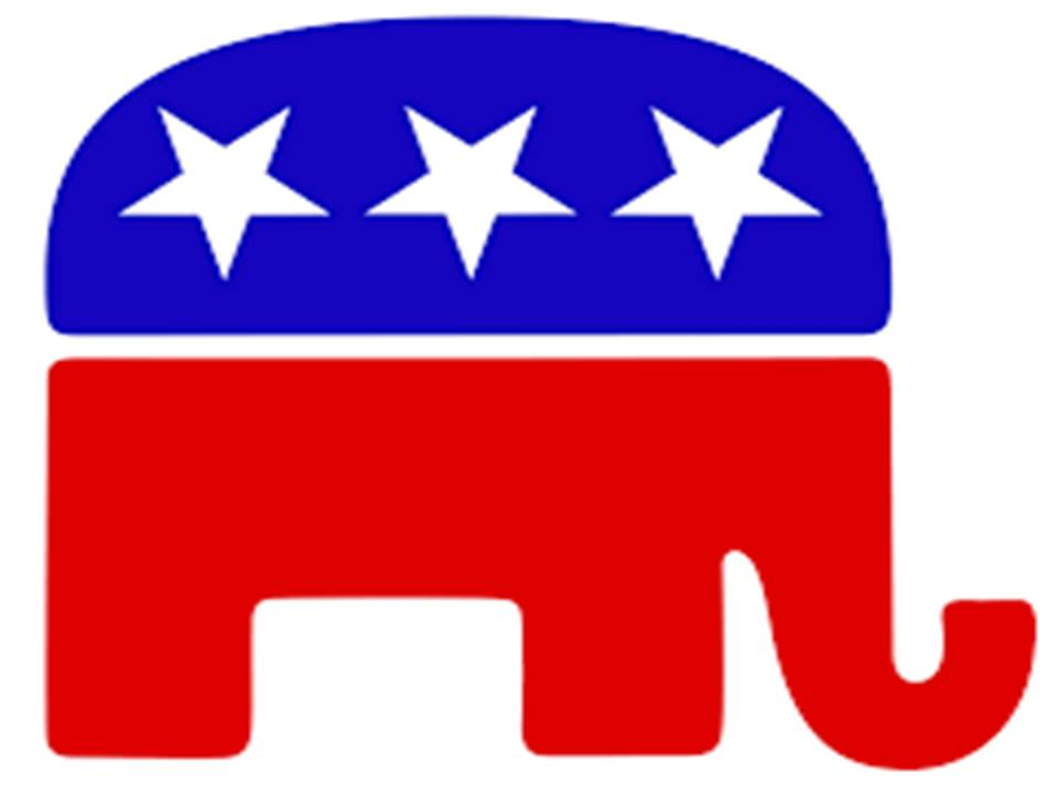 Republican elephant blue and white on top red on bottom